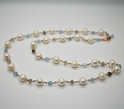 925 Sterling Silver Necklace Gold Foiled Pink & Pearls Quartz & Aquamarine image 2