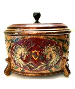 Oval Trinket Box Unicorns Footed Large Old World Style Decor 12.5 inches... - €68,07 EUR