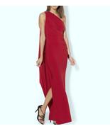 $160 Lauren Ralph Lauren One-Shoulder Ruched Gown Vibrant Garnet 12 - $114.83
