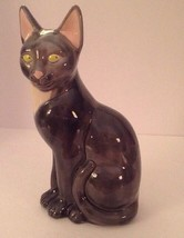 "Vintage Art Pottery Cat Mid-Century Gray White 12"" Sitting Green Eyes - $75.15"
