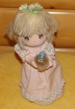 Precious Moments Musical Revolving Soft Doll Holding Spring Baby Blue Bird - $7.89