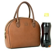 Authentic Burberrys Brown Leather Small Hand Bag Purse Small Handbag Vin... - $147.51