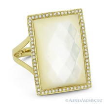 Cushion Cut Mother-of-Pearl Diamond Right-Hand Cocktail Ring in 14k Yell... - $825.99