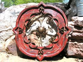 Round House Pediment Architectural Iron-Wood-Hand Painted RED Medallion ... - $124.98