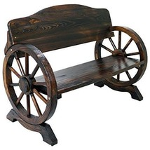 Country Hardwood Garden Bench Buckboard Wagon Wheel Seat Patio Outdoor F... - $134.44