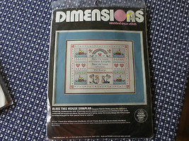 1986 Dimensions Bless This House Sampler Counted Cross Stitch Sealed Kit #3621 - $11.88