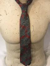 Geoffrey Beene Mens Tie Necktie 100% Silk Red Blue Paisley - $20.11