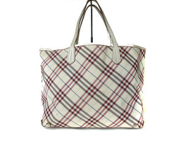 Authentic Burberry London Blue Label Nylon Canvas, Leather White, Red Tote Bag - $138.00