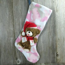 Pink Camo Teddy Bear With Red Hat Scarf Christmas Stocking Jumbo Plush S... - $64.34