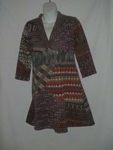 Size SMALL S SACRED THREADS Patchwork Dress Tunic Knit V Neck Womens - $32.47
