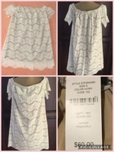 NEW! Signature Studio Ivory Off Shoulder Top Size S Lace Fully Lined Ori... - $8.90