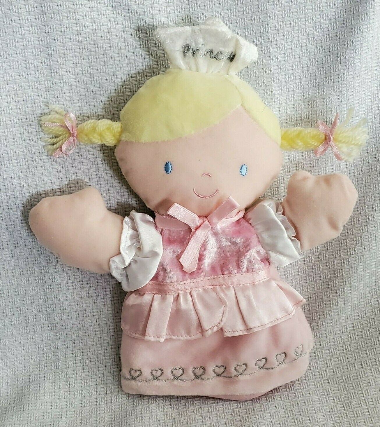 Carters Princess Girl Hand Puppet Blonde Yellow Yarn Hair Pink Satin Dress Toy - $24.74
