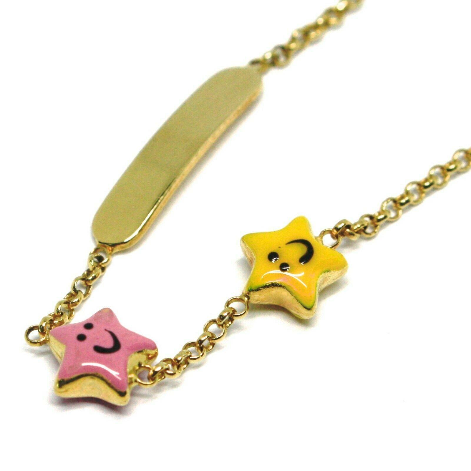 Armband Gold Gelbgold 18K 750, Mädchen, Sterne Emaille, Teller, 14 CM
