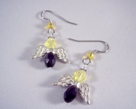 Team colors Crystal Angel Drop Earrings Black and Yellow - $10.25