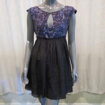 bebe Blue Black Abstract Silk Cap Sleeve Keyhole A-line Mini Dress Sz M New - $39.11