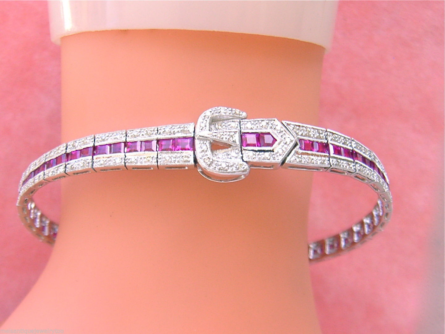 ESTATE ART DECO .90ctw DIAMOND 4.7ctw RUBY or SAPPHIRE BUCKLE BANGLE BRACELET
