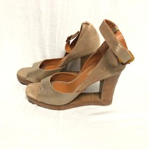 BCBG MAXAZRIA SHOES Gold Leather Wood Heel wedge Sandals Size: 9/39 - $28.04
