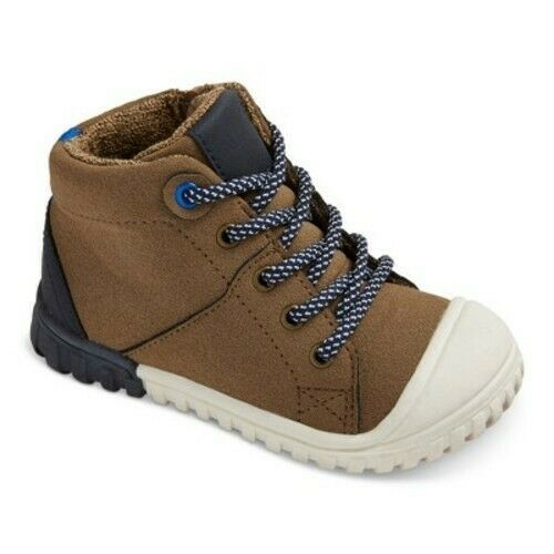 Cat & Jack Toddler Boys' Mitch Brown Leather High Top Hiking Boots Shoes NEW