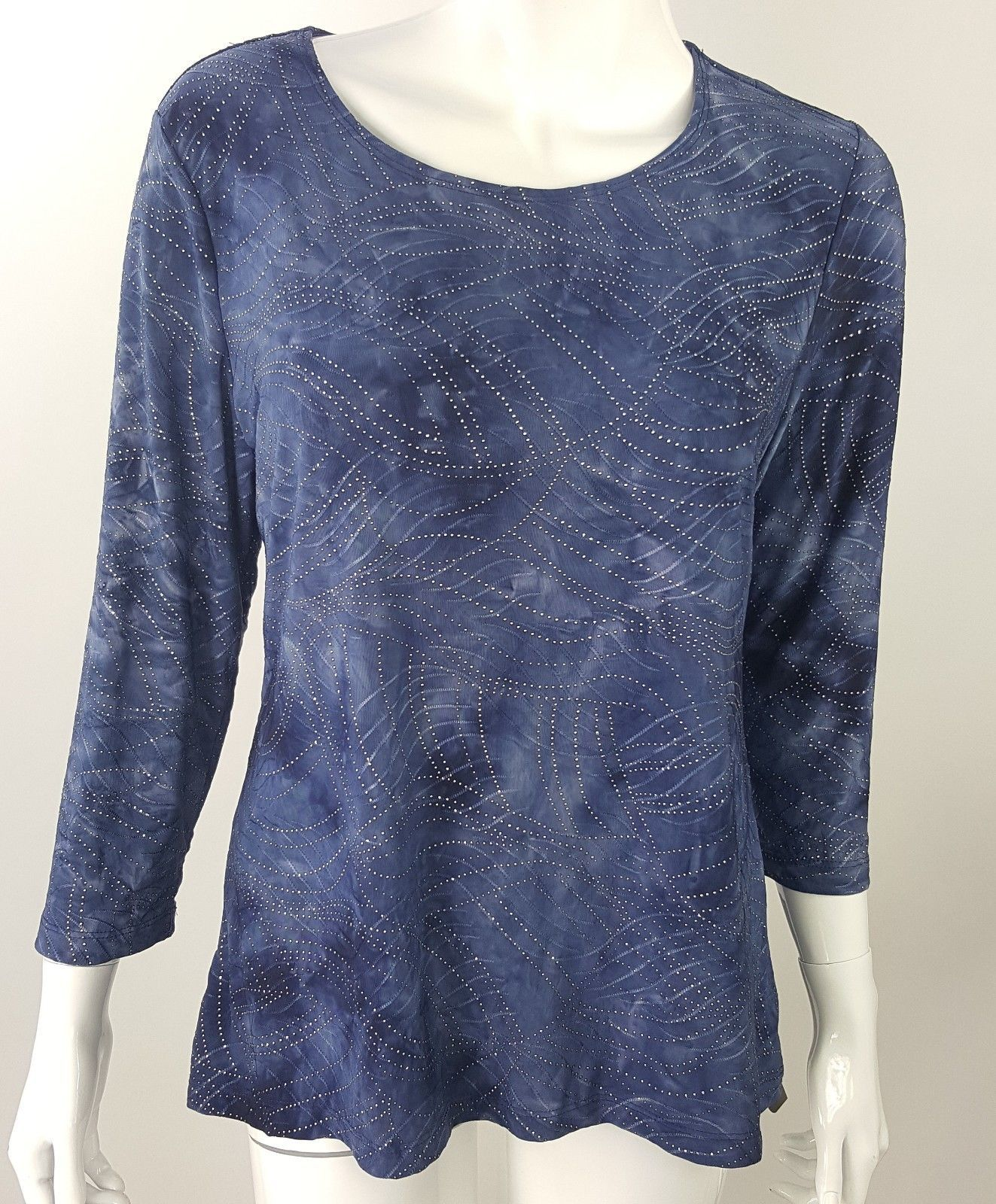 JM Collection Womens Small Blue Silver Beaded Swirl Career Blouse Stretch NWT