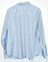 Jones New York Signature Woman Non Iron Blue & White Pinstripe Button-Up Blouse  image 2
