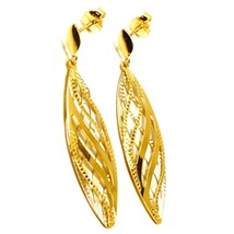 """18K YELLOW GOLD PENDANT EARRINGS WORKED WAVY DOUBLE OVAL LEAF 4.5cm, 1.8"""" image 2"""