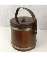 Wooden Farmhouse Firkin Bucket with Lid Handle Metal Bands Old Primitive... - $53.59