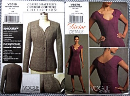 2 UNCUT VOGUE SEWING PATTERNS: CLAIRE SHAEFFER & DIVINE DETAILS Sm-L - $12.50