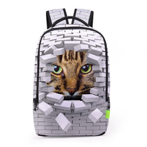 Creative personality 3d tiger head digital print school travel backpack - $494,58 MXN