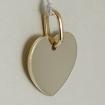 Yellow gold pendant 750 18k flat heart, engravable, length 1.6 cm, Italy image 2
