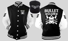 Bullet Club Japan Wrestling Detail Varsity Baseball Fleece Jacket Snapback Combo - $51.47