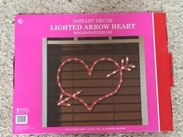 A New Valentine's Day 43 Light Red Heart and Arrow Lighted Silhouette Decoration - $19.79