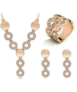 Ing 3pcs jewelry sets gold color necklace earrings ring for women ladies wedding party thumbtall