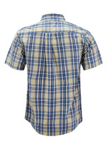 Men's Cotton Casual Short Sleeve Classic Collared Plaid Button Up Dress Shirt image 15