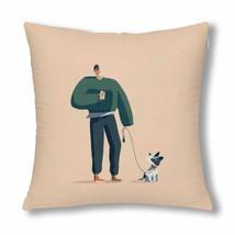 """InterestPrint? Dog Walker Throw Pillow Cover 18""""x 18""""(Twin Sides) - $13.99"""