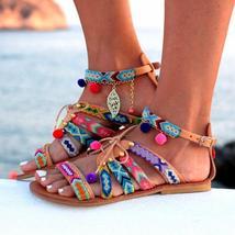 2018 New Fashion Women Sandals Gladiator Leather Sandals Pom Pom Sandals Bohemia