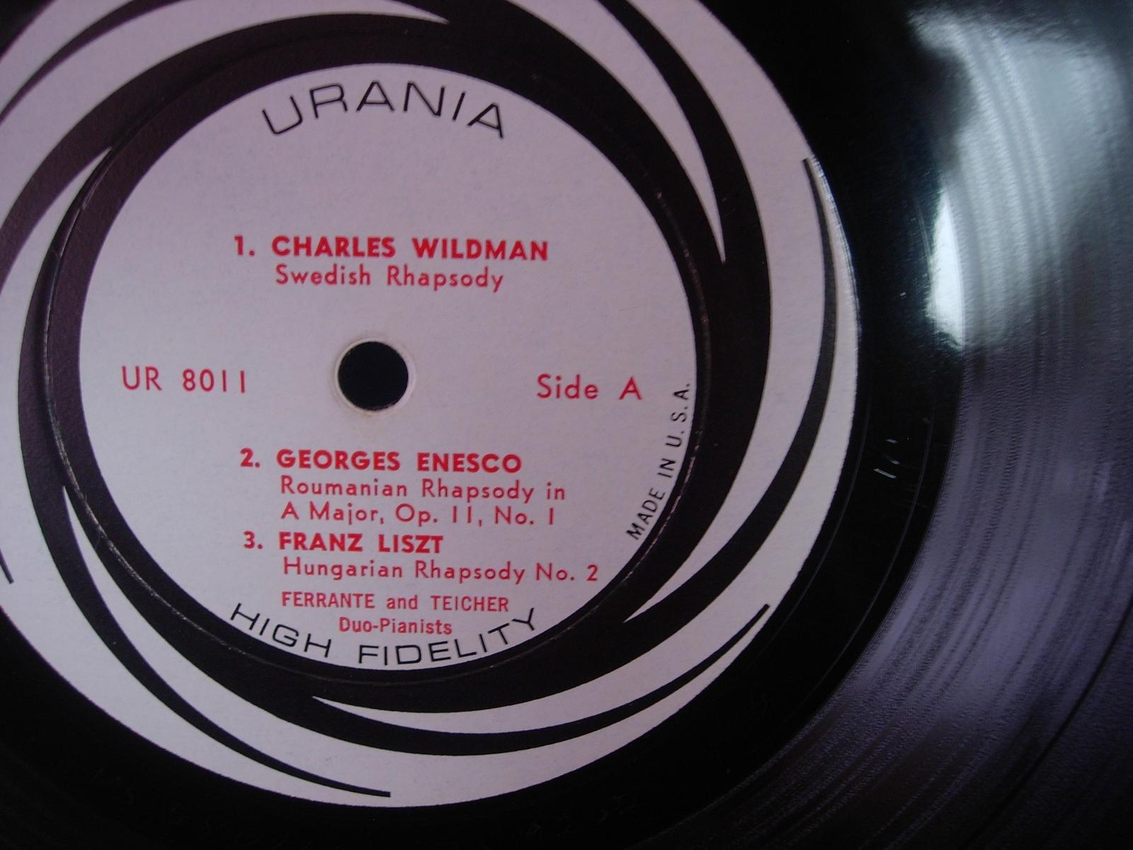Ferrante and Teicher and their Magic Pianos - Rhapsody - Urania Records UR 8011