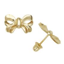 Bow Children Stud Earrings Screw Back 14K Yellow Gold 7mm by 11.5mm - $103.94