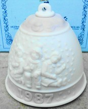 Lladro 1987 Porcelain Christmas Bell Ornament in Pink Children Playing i... - $20.00
