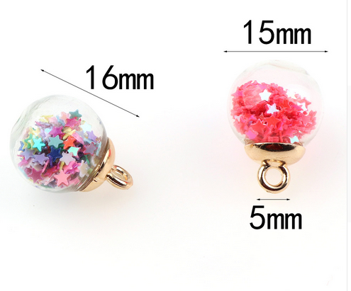 Transparent Glass Ball Star Charms Pendant Finding