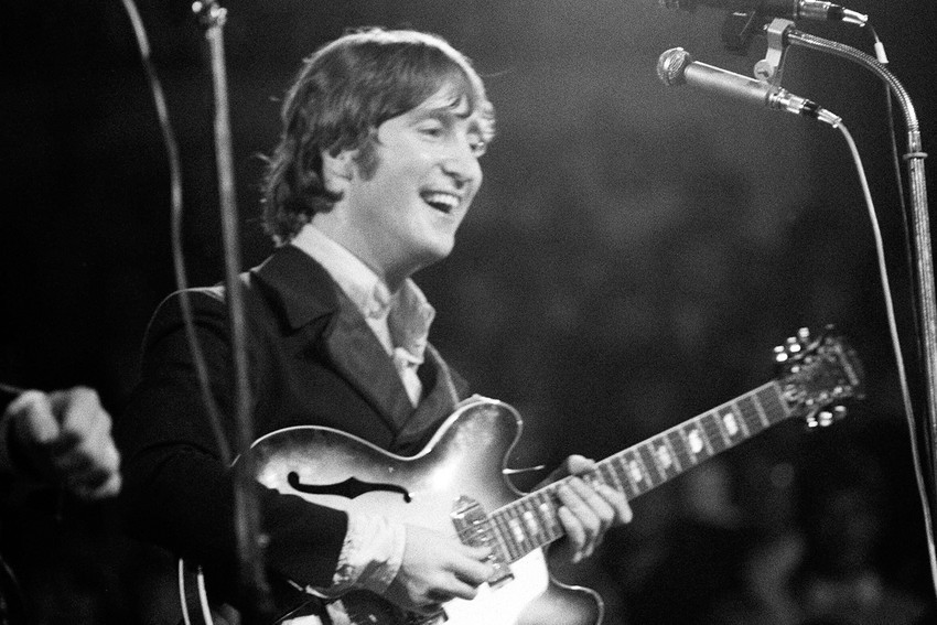 Primary image for John Lennon On Stage Classic The Beatles Playing Guitar Concert 18x24 Poster