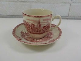 Johnson Bros Old Britain Castles Red & White Kenilworth Castle Cup and Saucer - $7.95
