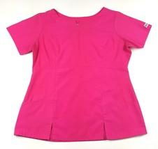 Uniform Advantage Scrubs Womens Size Large Hot Pink V-neck Scrub Top Nursing EUC - $12.19
