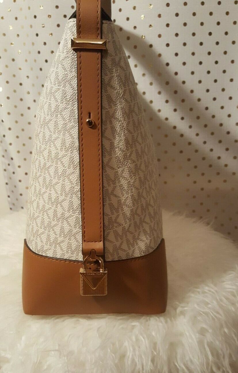 NWT Michael Kors Crosby Signature Lobo Hobo Shoulder Large Bag Vanilla Acorn