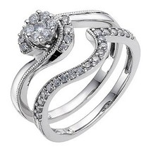 Round Cut Sim Diamond 14k White Gold Finish 925 Silver Wedding Bridal Ring Set - $80.47