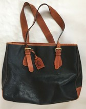 Vintage Liz Claiborne Pebbled Leather Large Tote Travel Purse Black Laptop Bag - $54.45