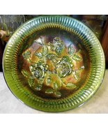 Vintage IMPERIAL Lustre Rose Open Rose Footed Green Carnival Glass Bowl ... - $53.66