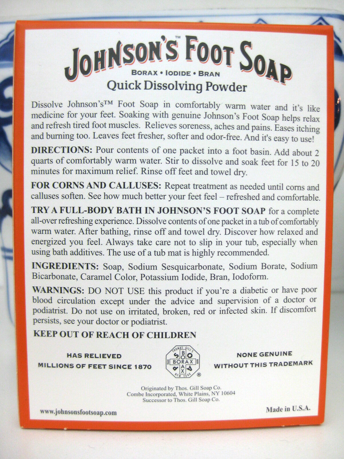 JOHNSON'S Foot Soap Soak Powder Borax, Iodide, & Bran Packets 4 Each image 2