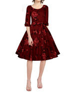 24 3X USA PLUS SZ RED ROSE FLORAL CUFFED 3/4 SLEEVE CIRCLE SKIRT VINTAGE... - $37.00