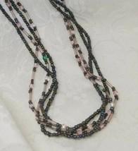Premier Designs Seed Bead Necklace Glass Multi-Strand Gunmetal Grey Pink... - $15.83