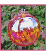 """Hanging Glass Ball 4"""" Clear Glass with Red and Yellow Specks (1) HB32 - $13.86"""